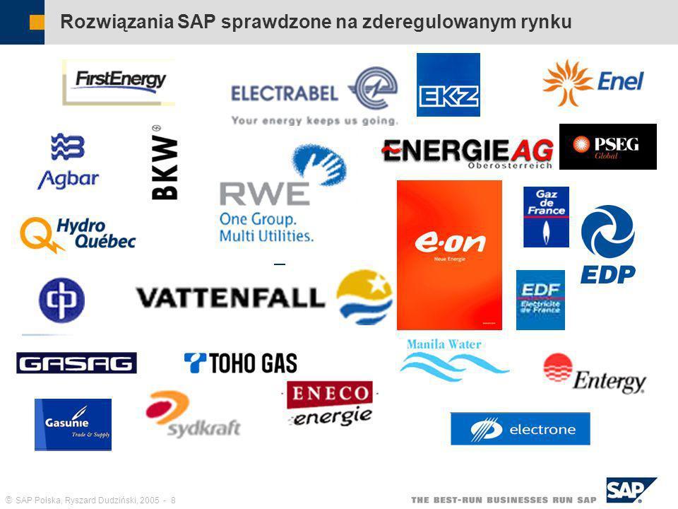 SAP Polska, Ryszard Dudziński, 2005 - 9 Klienci wykorzystujący systemy SAP w Polsce – branża użyteczności publicznej Branża elektroenergetyczna: Energa S.A., Oddział Zakład Energetyczny Gdańsk Energa S.A., Oddział Zakład Energetyczny Toruń Energa S.A., Oddział Energetyka Kaliska EnergiaPro, Oddział Zakład Energetyczny Wrocław EnergiaPro, Oddział Zakład Energetyczny Jelenia Góra Enion S.A., Oddział Zakład Energetyczny Tarnów ENEA S.A.