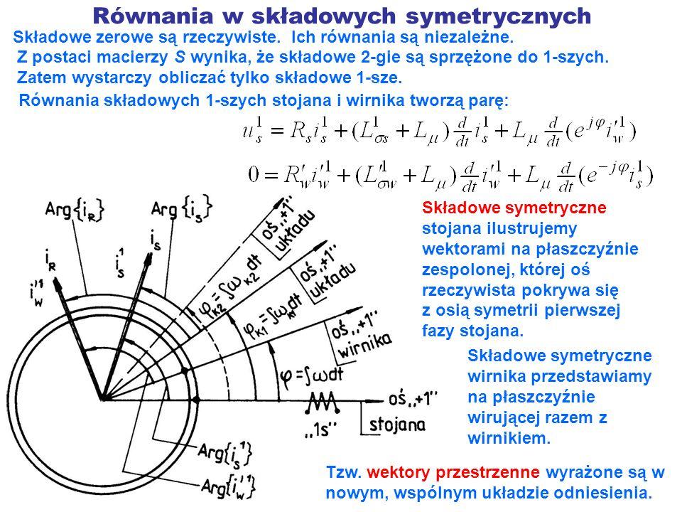 Równania w składowych symetrycznych Składowe zerowe są rzeczywiste. Ich równania są niezależne. Z postaci macierzy S wynika, że składowe 2-gie są sprz