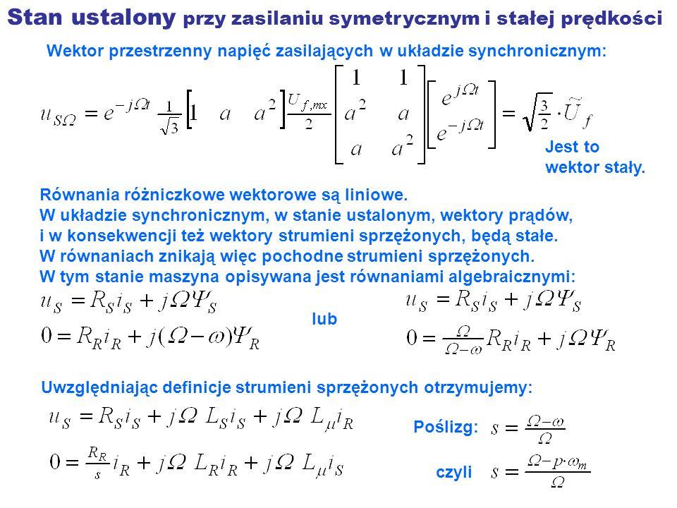 Stan ustalony przy zasilaniu symetrycznym i stałej prędkości Wektor przestrzenny napięć zasilających w układzie synchronicznym: Jest to wektor stały.