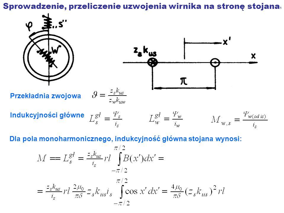 Sprowadzenie, przeliczenie uzwojenia wirnika na stronę stojana 1 Przekładnia zwojowa Indukcyjności główne Dla pola monoharmonicznego, indukcyjność głó