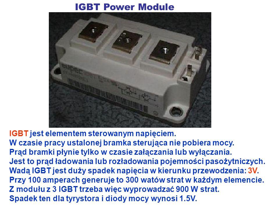 IGBT Power Module IGBT jest elementem sterowanym napięciem. W czasie pracy ustalonej bramka sterująca nie pobiera mocy. Prąd bramki płynie tylko w cza