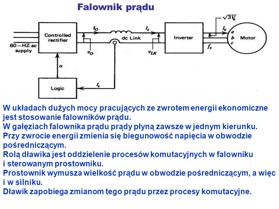 Falownik prądu W układach dużych mocy pracujących ze zwrotem energii ekonomiczne jest stosowanie falowników prądu. W gałęziach falownika prądu prądy p