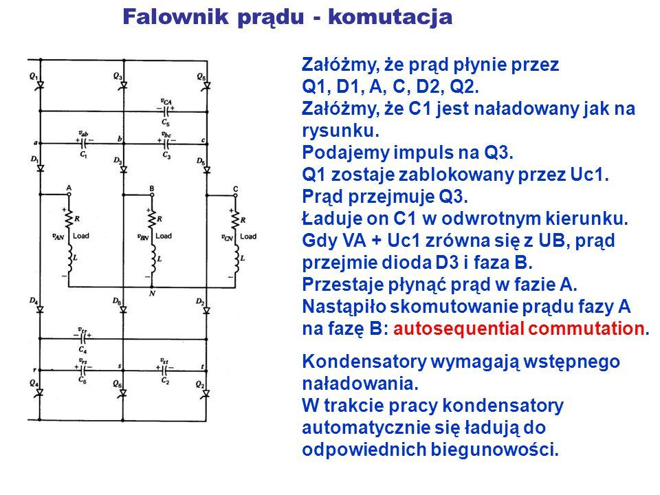 Falownik prądu - komutacja Załóżmy, że prąd płynie przez Q1, D1, A, C, D2, Q2. Załóżmy, że C1 jest naładowany jak na rysunku. Podajemy impuls na Q3. Q