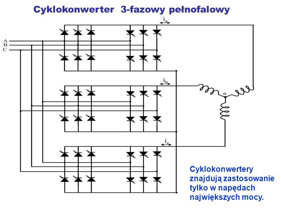 Cyklokonwerter 3-fazowy pełnofalowy Cyklokonwertery znajdują zastosowanie tylko w napędach największych mocy.