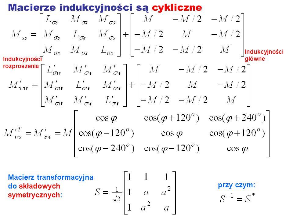 Macierze indukcyjności są cykliczne Macierz transformacyjna do składowych symetrycznych: przy czym: Indukcyjności rozproszenia Indukcyjności główne