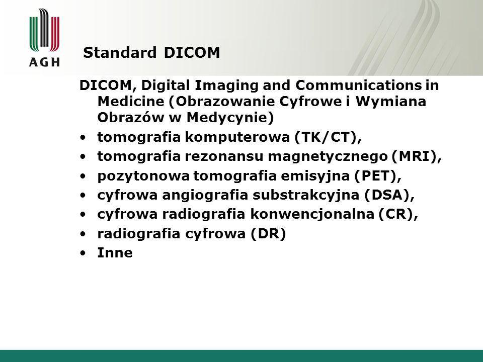 Standard DICOM DICOM, Digital Imaging and Communications in Medicine (Obrazowanie Cyfrowe i Wymiana Obrazów w Medycynie) tomografia komputerowa (TK/CT), tomografia rezonansu magnetycznego (MRI), pozytonowa tomografia emisyjna (PET), cyfrowa angiografia substrakcyjna (DSA), cyfrowa radiografia konwencjonalna (CR), radiografia cyfrowa (DR) Inne