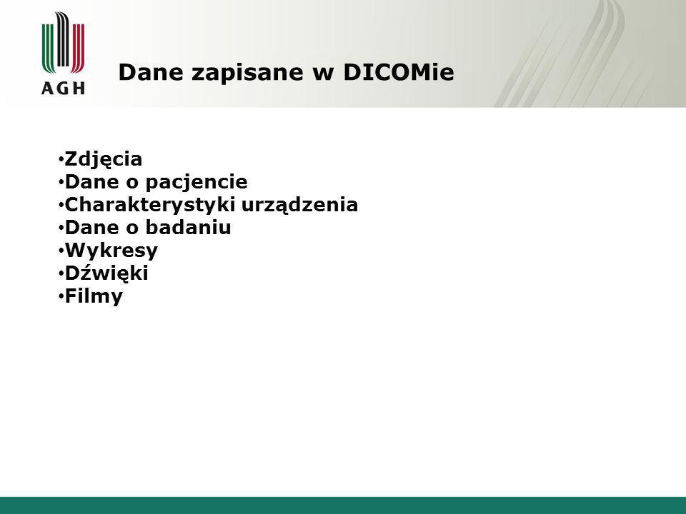Dane zapisane w DICOMie Zdjęcia Dane o pacjencie Charakterystyki urządzenia Dane o badaniu Wykresy Dźwięki Filmy