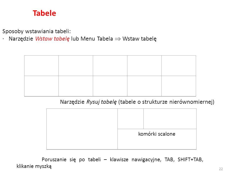 Tabele Sposoby wstawiania tabeli: · Narzędzie Wstaw tabelę lub Menu Tabela Wstaw tabelę komórki scalone Poruszanie się po tabeli – klawisze nawigacyjne, TAB, SHIFT+TAB, klikanie myszką Narzędzie Rysuj tabelę (tabele o strukturze nierównomiernej) 22