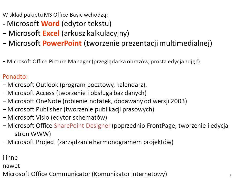 W skład pakietu MS Office Basic wchodzą: Microsoft Word (edytor tekstu) Microsoft Excel (arkusz kalkulacyjny) Microsoft PowerPoint (tworzenie prezentacji multimedialnej) Microsoft Office Picture Manager (przeglądarka obrazów, prosta edycja zdjęć) Ponadto: Microsoft Outlook (program pocztowy, kalendarz).