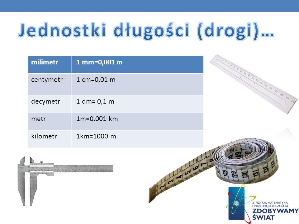 milimetr 1 mm=0,001 m centymetr 1 cm=0,01 m decymetr 1 dm= 0,1 m metr 1m=0,001 km kilometr 1km=1000 m