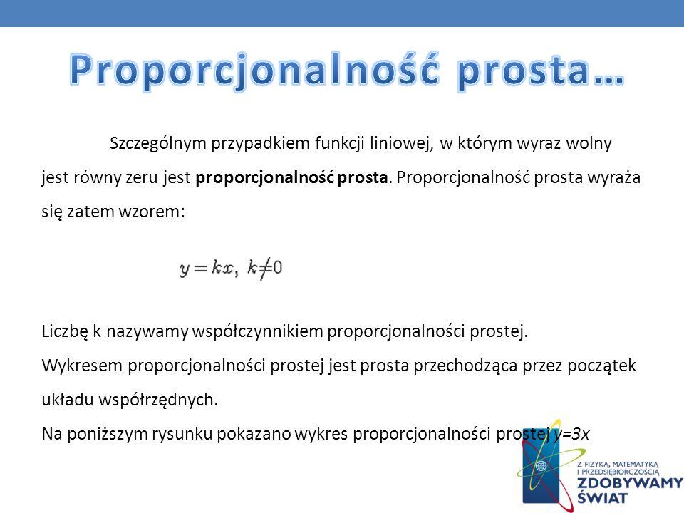 Szczególnym przypadkiem funkcji liniowej, w którym wyraz wolny jest równy zeru jest proporcjonalność prosta. Proporcjonalność prosta wyraża się zatem