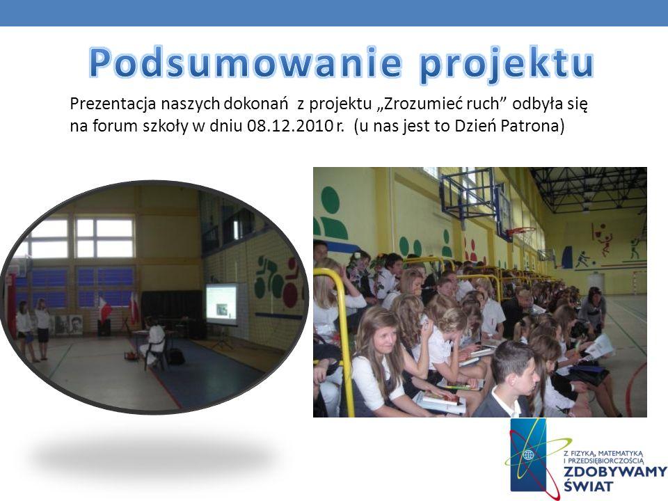 Prezentacja naszych dokonań z projektu Zrozumieć ruch odbyła się na forum szkoły w dniu 08.12.2010 r. (u nas jest to Dzień Patrona)