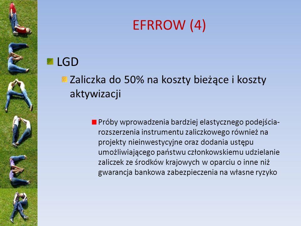 EFRROW (4) LGD Zaliczka do 50% na koszty bieżące i koszty aktywizacji Próby wprowadzenia bardziej elastycznego podejścia- rozszerzenia instrumentu zal