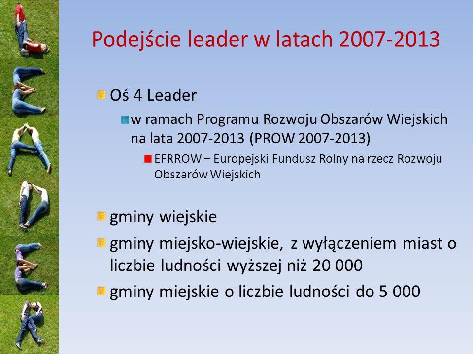 Podejście leader w latach 2007-2013 Oś 4 Leader w ramach Programu Rozwoju Obszarów Wiejskich na lata 2007-2013 (PROW 2007-2013) EFRROW – Europejski Fu