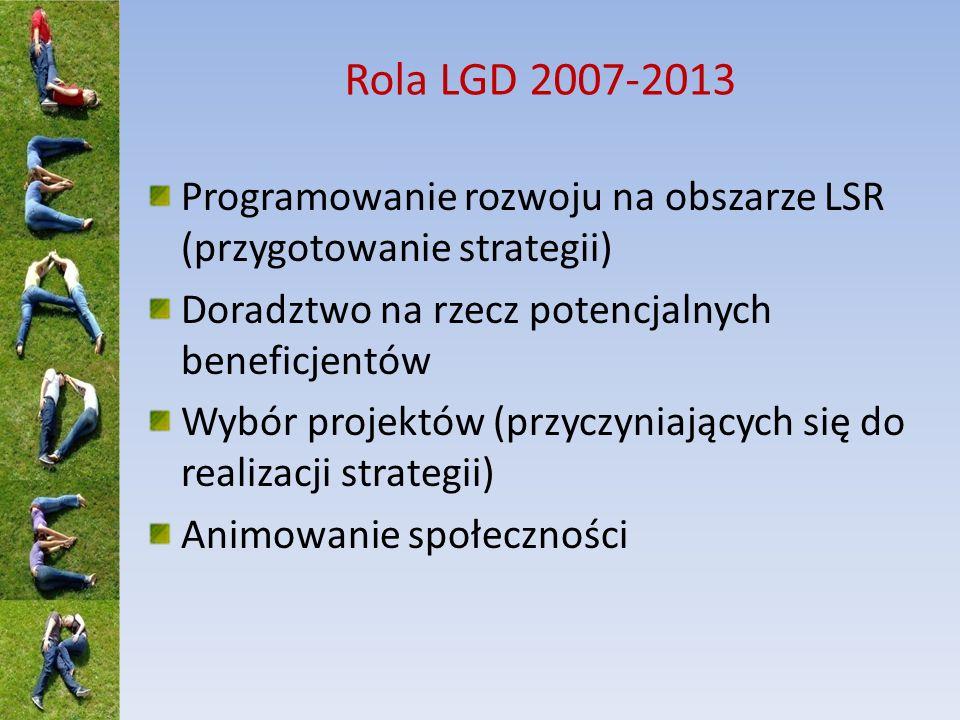 Rola LGD 2007-2013 Programowanie rozwoju na obszarze LSR (przygotowanie strategii) Doradztwo na rzecz potencjalnych beneficjentów Wybór projektów (prz