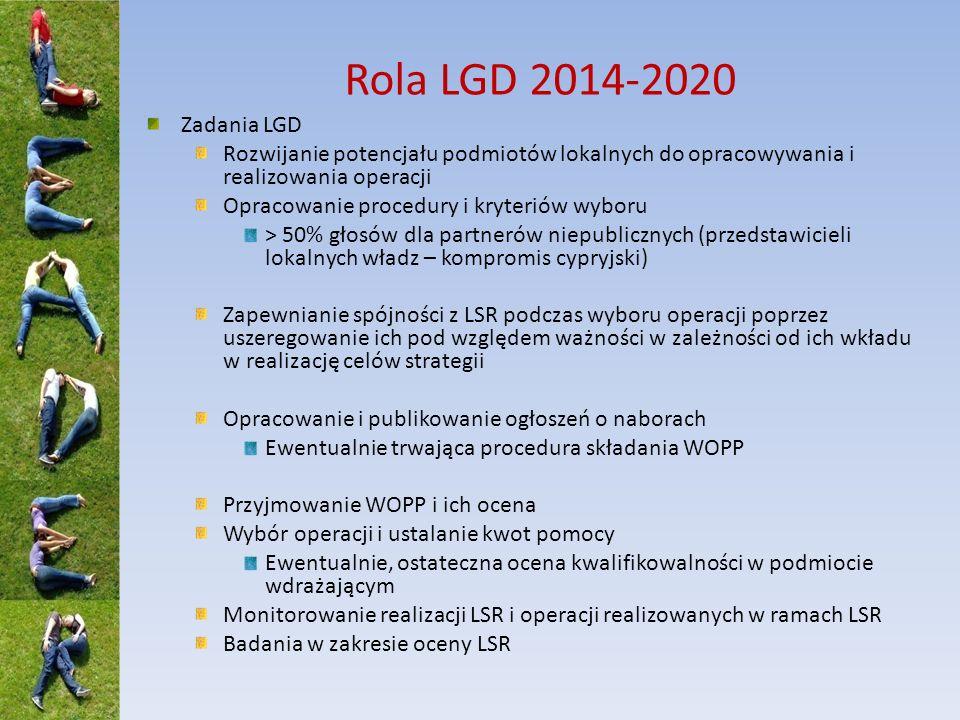 Rola LGD 2014-2020 Zadania LGD Rozwijanie potencjału podmiotów lokalnych do opracowywania i realizowania operacji Opracowanie procedury i kryteriów wy