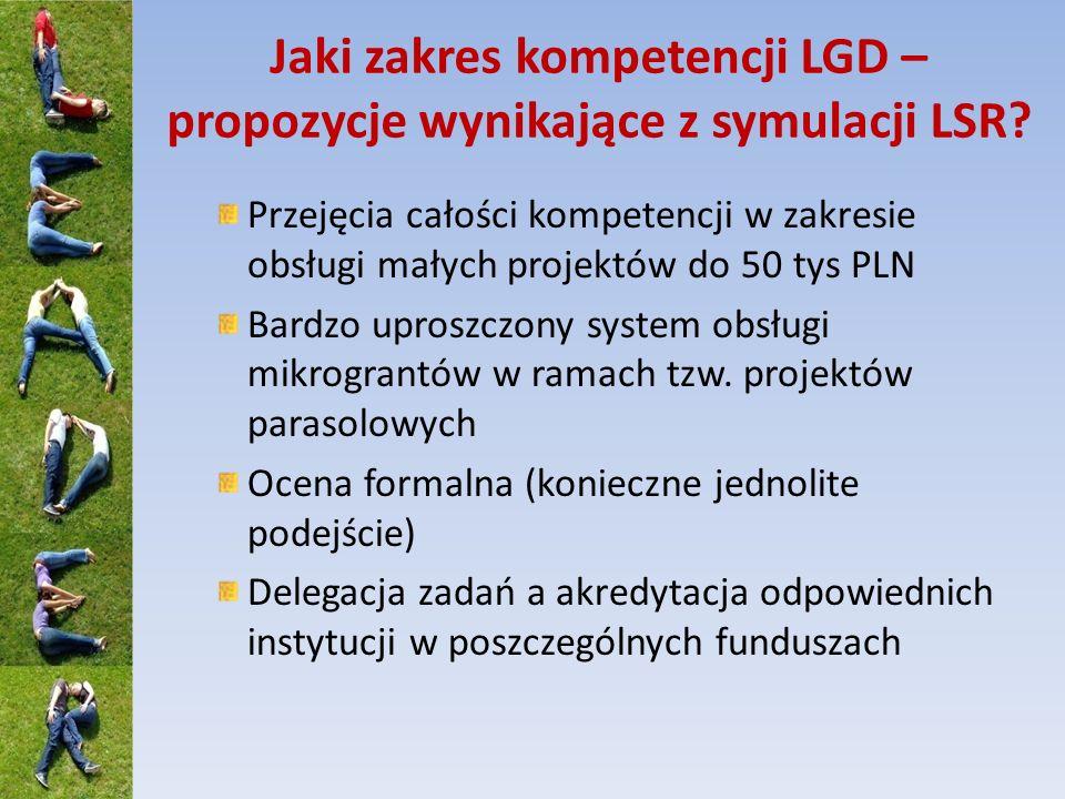 Jaki zakres kompetencji LGD – propozycje wynikające z symulacji LSR? Przejęcia całości kompetencji w zakresie obsługi małych projektów do 50 tys PLN B