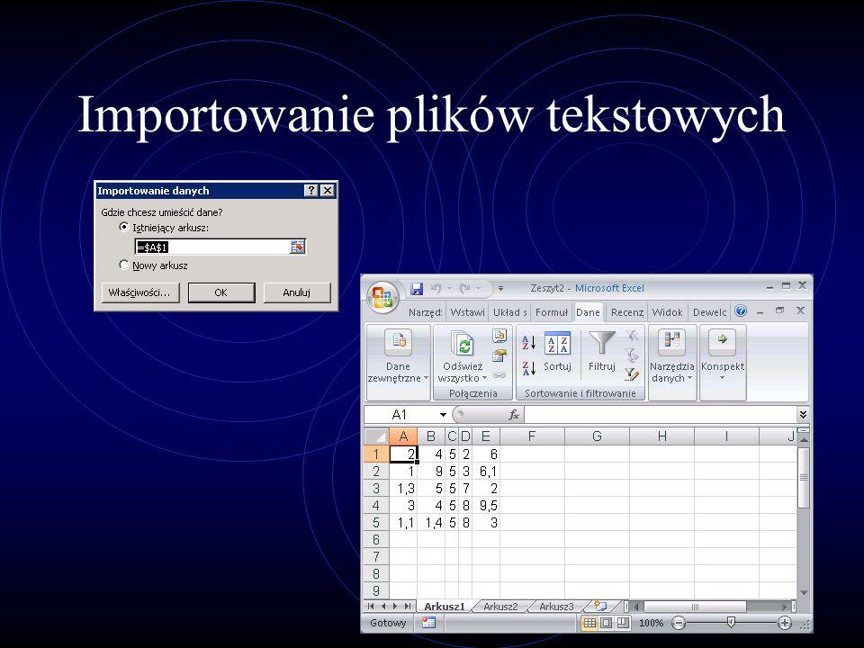 Importowanie plików tekstowych