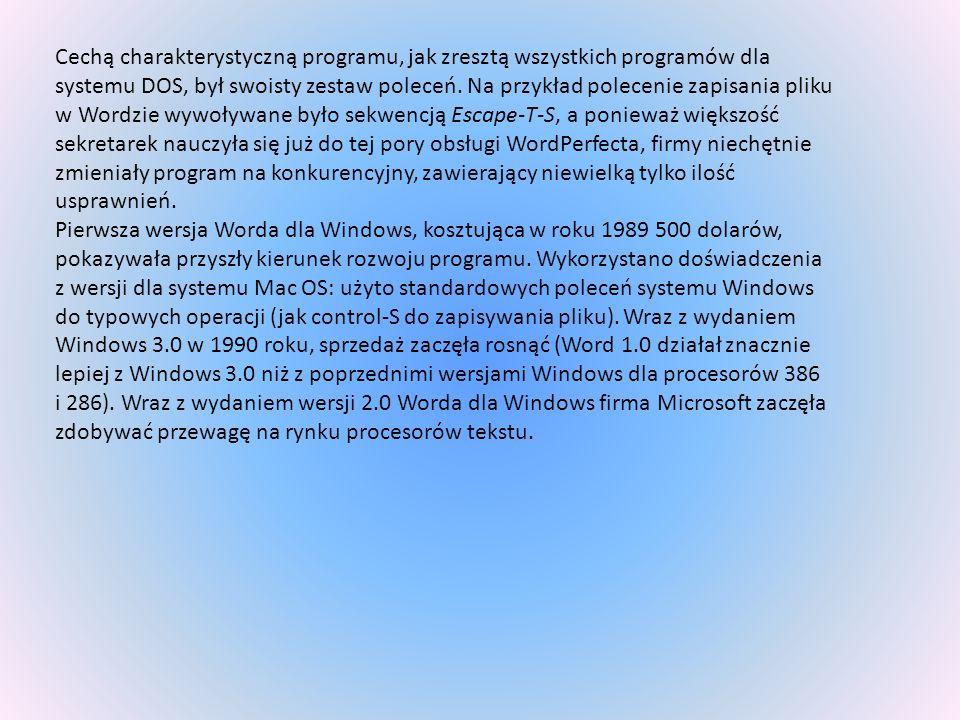 Cechą charakterystyczną programu, jak zresztą wszystkich programów dla systemu DOS, był swoisty zestaw poleceń. Na przykład polecenie zapisania pliku