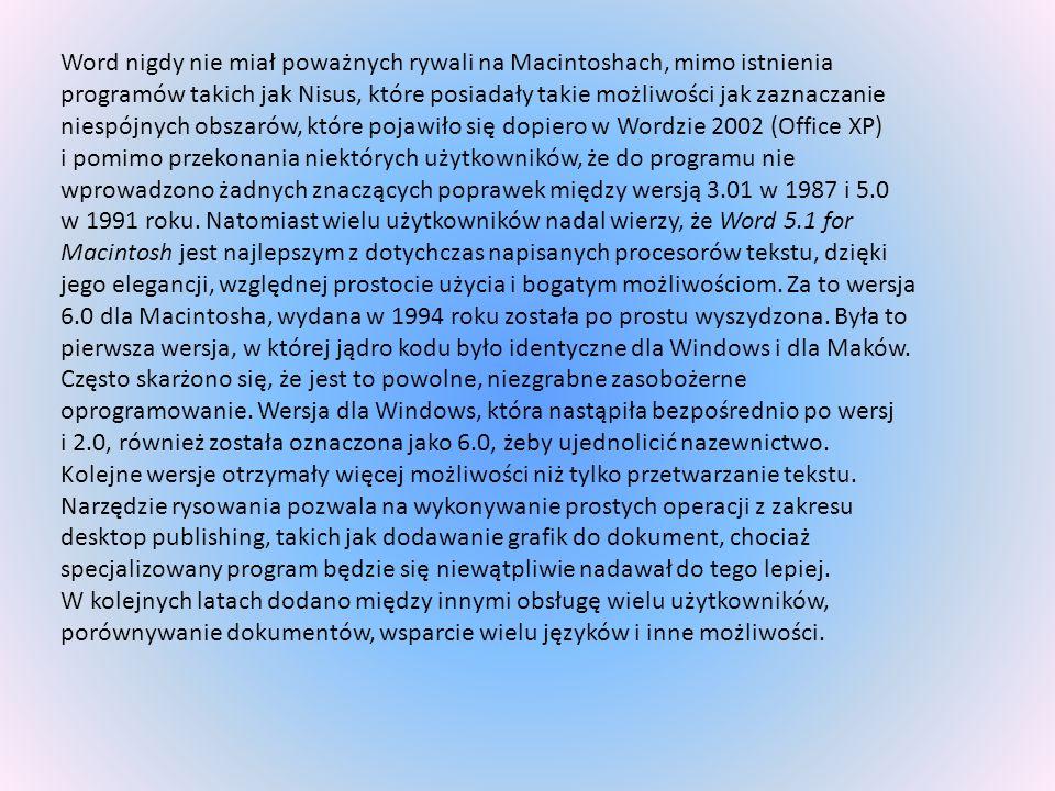 Word nigdy nie miał poważnych rywali na Macintoshach, mimo istnienia programów takich jak Nisus, które posiadały takie możliwości jak zaznaczanie nies