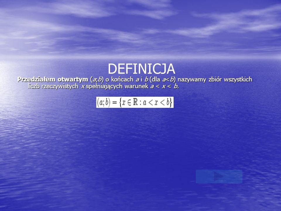 DEFINICJA Przedziałem otwartym (a;b) o końcach a i b (dla a<b) nazywamy zbiór wszystkich liczb rzeczywistych x spełniających warunek a < x < b.