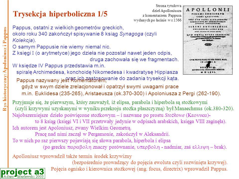 Trysekcja hiperboliczna 1/5 Pappus, ostatni z wielkich geometrów greckich, około roku 340 zakończył spisywanie 8 ksiąg Synagoga (czyli Kolekcja).