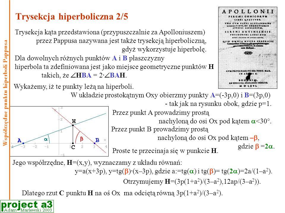 Trysekcja hiperboliczna 2/5 Trysekcja kąta przedstawiona (przypuszczalnie za Apolloniuszem) przez Pappusa nazywana jest także trysekcją hiperboliczną, gdyż wykorzystuje hiperbolę.