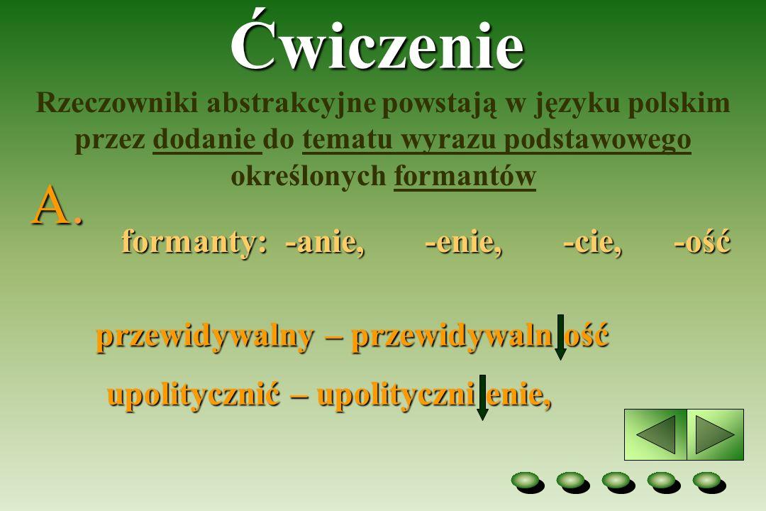 Ćwiczenie Rzeczowniki abstrakcyjne powstają w języku polskim przez dodanie do tematu wyrazu podstawowego określonych formantów formanty: -anie, -enie,