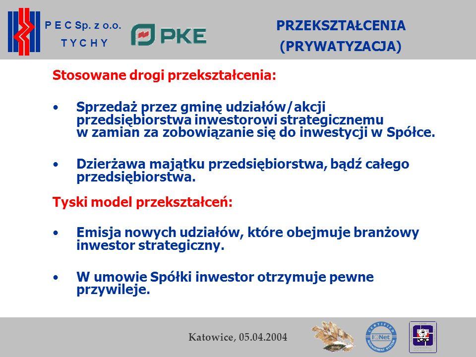 P E C Sp. z o.o. T Y C H Y K. Zamasz Kraków, 5-6 listopada 2003 4 Przedsiębiorstwo Energetyki Cieplnej Sp. z o.o. w Tychach PRZEKSZTAŁCENIA (PRYWATYZA