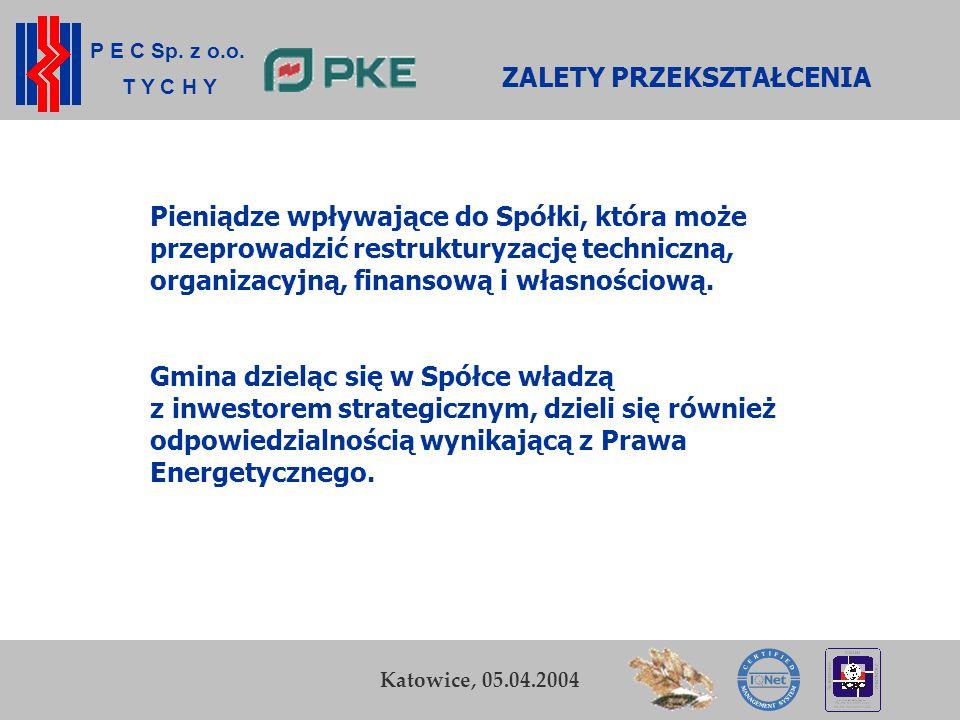 P E C Sp. z o.o. T Y C H Y K. Zamasz Kraków, 5-6 listopada 2003 5 Przedsiębiorstwo Energetyki Cieplnej Sp. z o.o. w Tychach ZALETY PRZEKSZTAŁCENIA Pie
