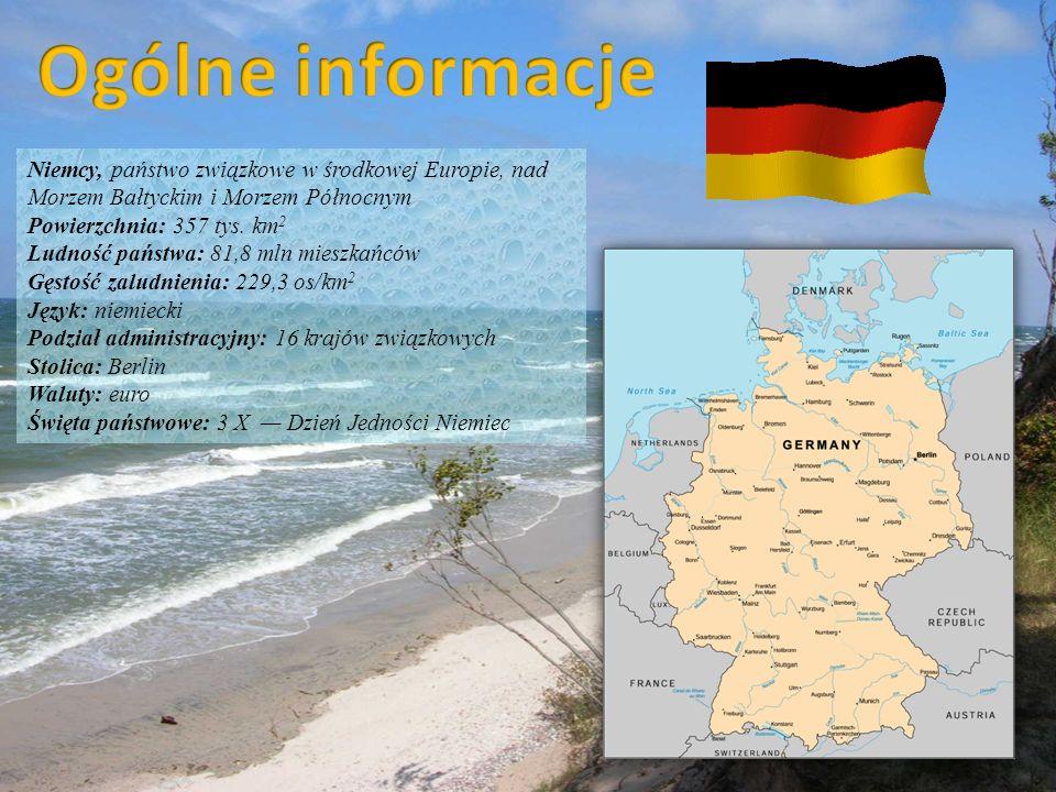 Niemcy, państwo związkowe w środkowej Europie, nad Morzem Bałtyckim i Morzem Północnym Powierzchnia: 357 tys. km 2 Ludność państwa: 81,8 mln mieszkańc