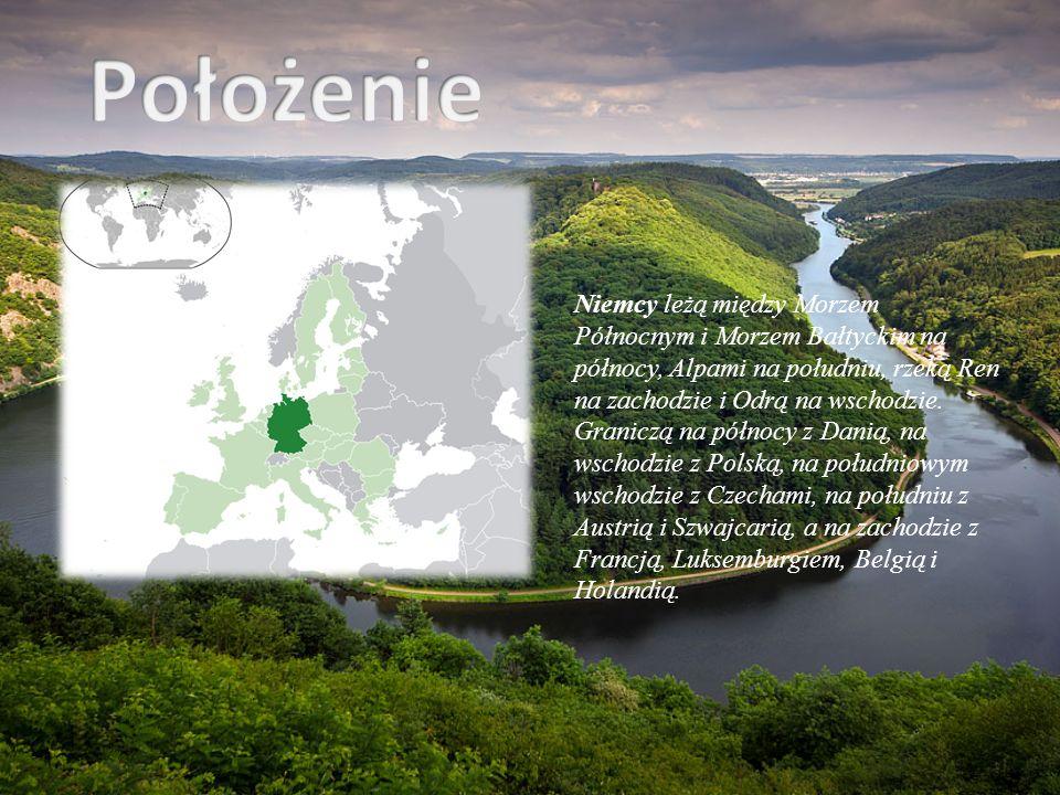 Niemcy leżą między Morzem Północnym i Morzem Bałtyckim na północy, Alpami na południu, rzeką Ren na zachodzie i Odrą na wschodzie. Graniczą na północy