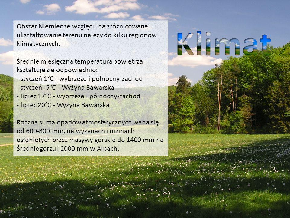 Obszar Niemiec ze względu na zróżnicowane ukształtowanie terenu należy do kilku regionów klimatycznych. Średnie miesięczna temperatura powietrza kszta