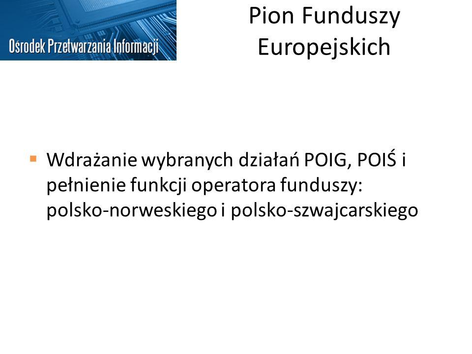 Pion Funduszy Europejskich Wdrażanie wybranych działań POIG, POIŚ i pełnienie funkcji operatora funduszy: polsko-norweskiego i polsko-szwajcarskiego