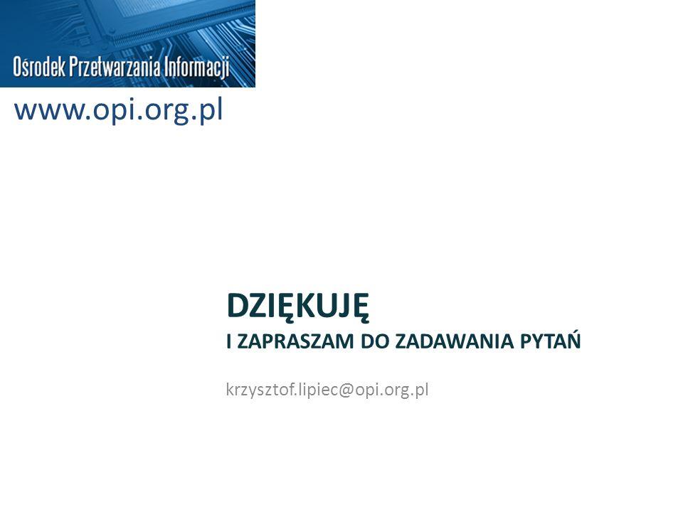 DZIĘKUJĘ I ZAPRASZAM DO ZADAWANIA PYTAŃ krzysztof.lipiec@opi.org.pl www.opi.org.pl
