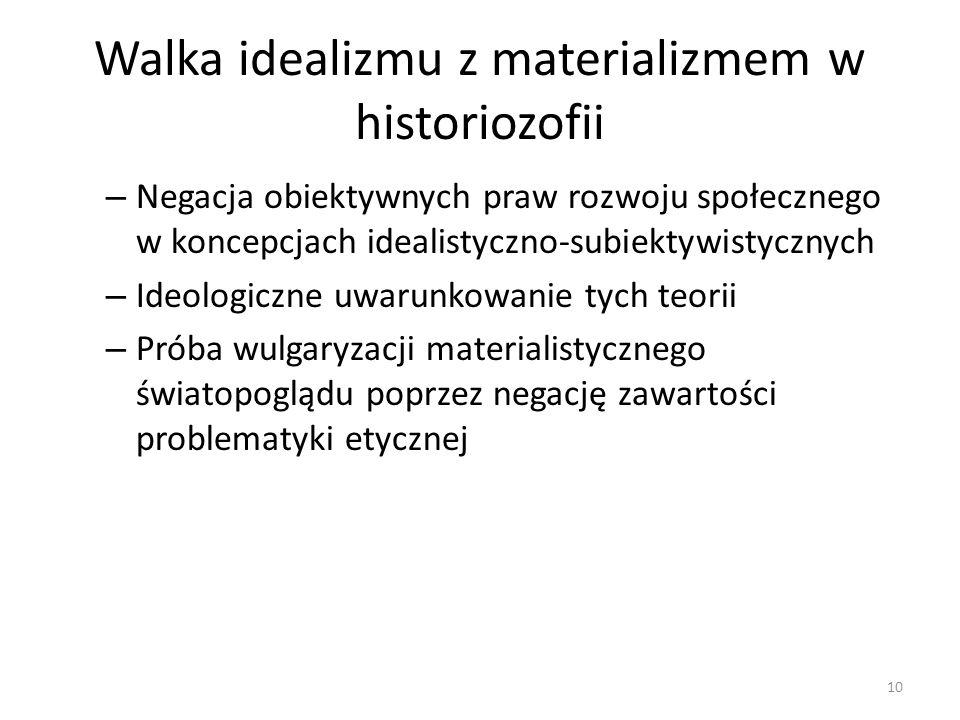 Walka idealizmu z materializmem w historiozofii – Negacja obiektywnych praw rozwoju społecznego w koncepcjach idealistyczno-subiektywistycznych – Ideo