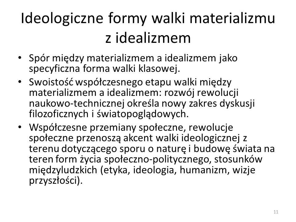 Ideologiczne formy walki materializmu z idealizmem Spór między materializmem a idealizmem jako specyficzna forma walki klasowej. Swoistość współczesne