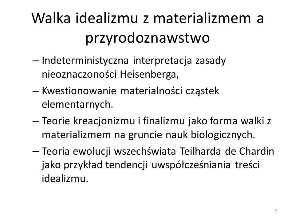 Walka idealizmu z materializmem a przyrodoznawstwo – Indeterministyczna interpretacja zasady nieoznaczoności Heisenberga, – Kwestionowanie materialnoś