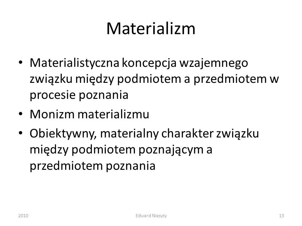 Materializm Materialistyczna koncepcja wzajemnego związku między podmiotem a przedmiotem w procesie poznania Monizm materializmu Obiektywny, materialn