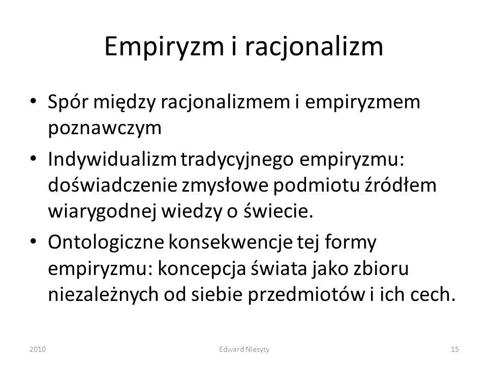 Empiryzm i racjonalizm Spór między racjonalizmem i empiryzmem poznawczym Indywidualizm tradycyjnego empiryzmu: doświadczenie zmysłowe podmiotu źródłem
