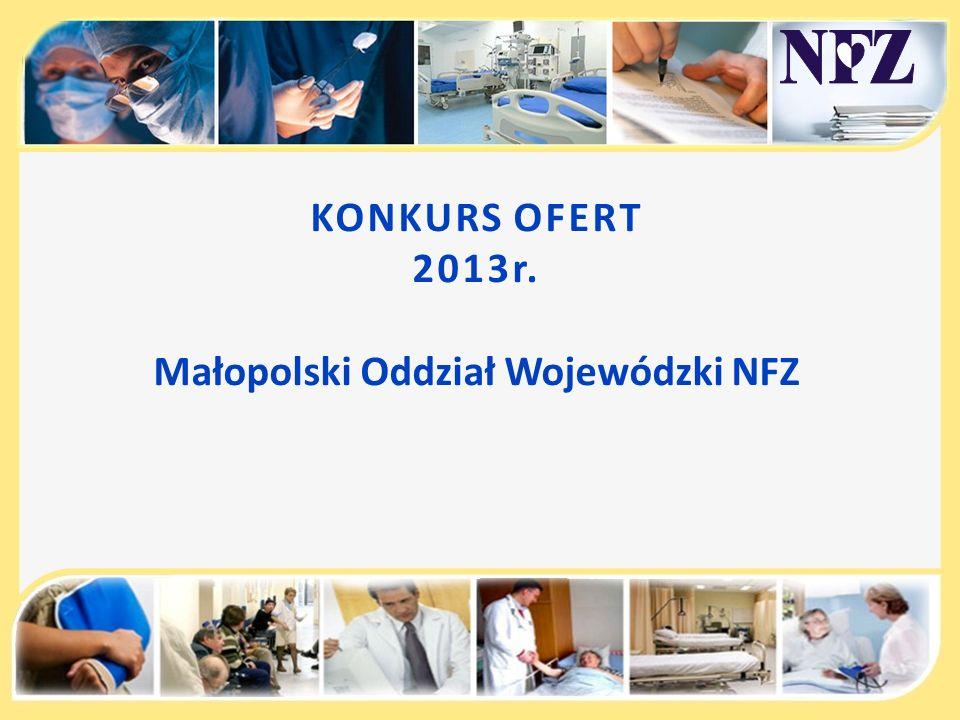 KONKURS OFERT 2013r. Małopolski Oddział Wojewódzki NFZ