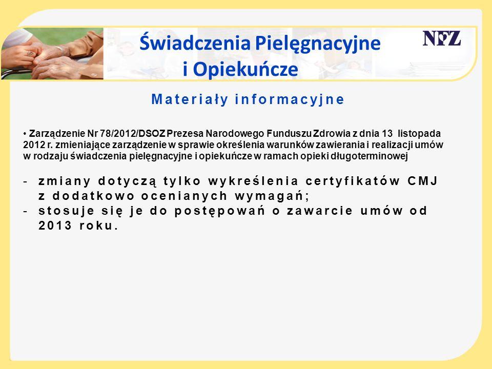 Świadczenia Pielęgnacyjne i Opiekuńcze Materiały informacyjne Zarządzenie Nr 78/2012/DSOZ Prezesa Narodowego Funduszu Zdrowia z dnia 13 listopada 2012