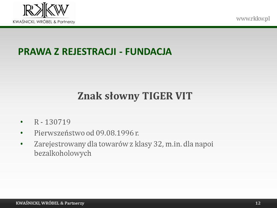 www.rkkw.pl PRAWA Z REJESTRACJI - FUNDACJA KWAŚNICKI, WRÓBEL & Partnerzy12 Znak słowny TIGER VIT R - 130719 Pierwszeństwo od 09.08.1996 r. Zarejestrow