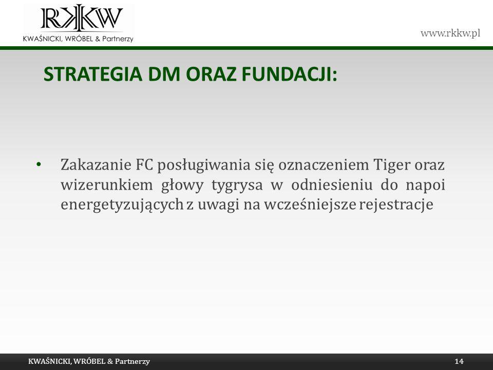 www.rkkw.pl STRATEGIA DM ORAZ FUNDACJI: KWAŚNICKI, WRÓBEL & Partnerzy14 Zakazanie FC posługiwania się oznaczeniem Tiger oraz wizerunkiem głowy tygrysa