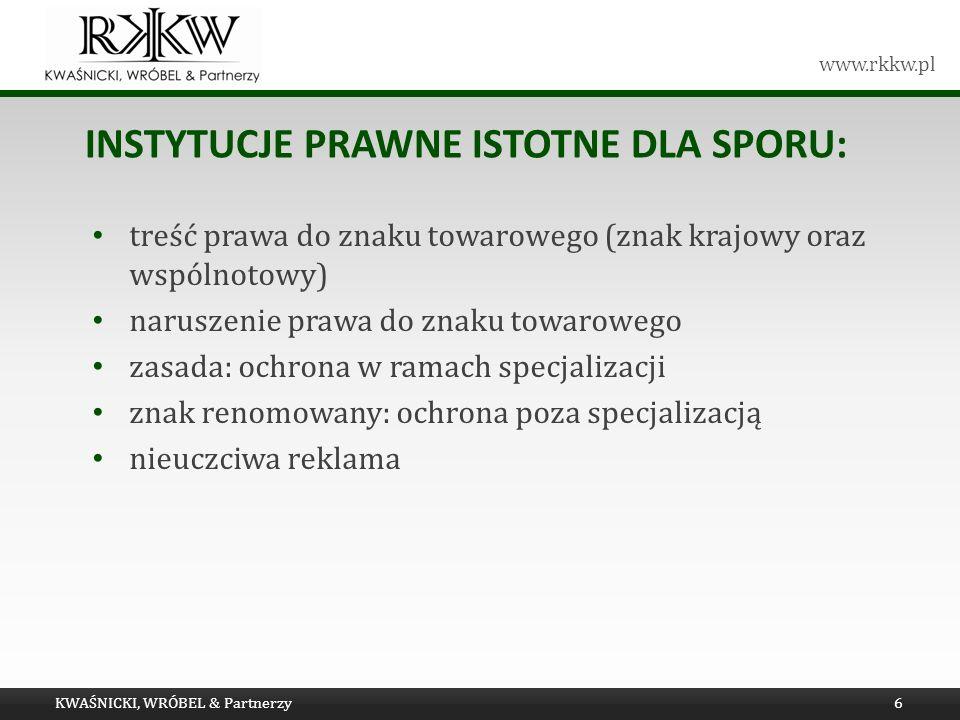 www.rkkw.pl INSTYTUCJE PRAWNE ISTOTNE DLA SPORU: treść prawa do znaku towarowego (znak krajowy oraz wspólnotowy) naruszenie prawa do znaku towarowego