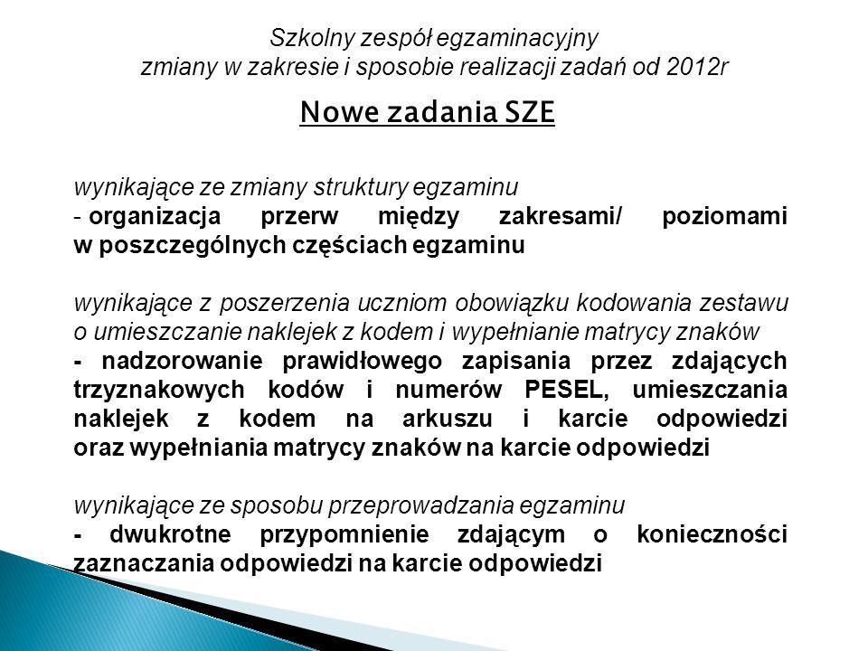 Szkolny zespół egzaminacyjny zmiany w zakresie i sposobie realizacji zadań od 2012r Nowe zadania SZE wynikające ze zmiany struktury egzaminu - organiz