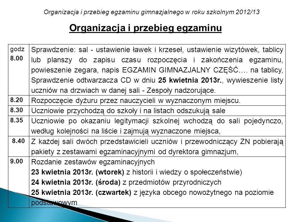 Organizacja i przebieg egzaminu gimnazjalnego w roku szkolnym 2012/13 Organizacja i przebieg egzaminu godz 8.00 Sprawdzenie: sal - ustawienie ławek i