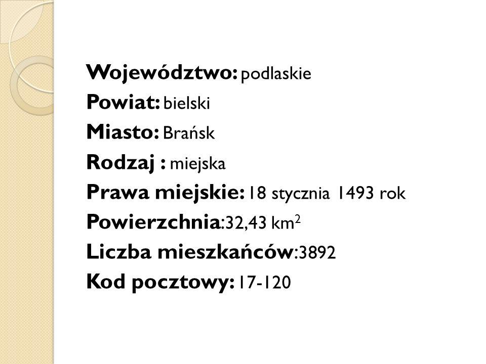 Województwo: podlaskie Powiat: bielski Miasto: Brańsk Rodzaj : miejska Prawa miejskie: 18 stycznia 1493 rok Powierzchnia: 32,43 km 2 Liczba mieszkańców: 3892 Kod pocztowy: 17-120