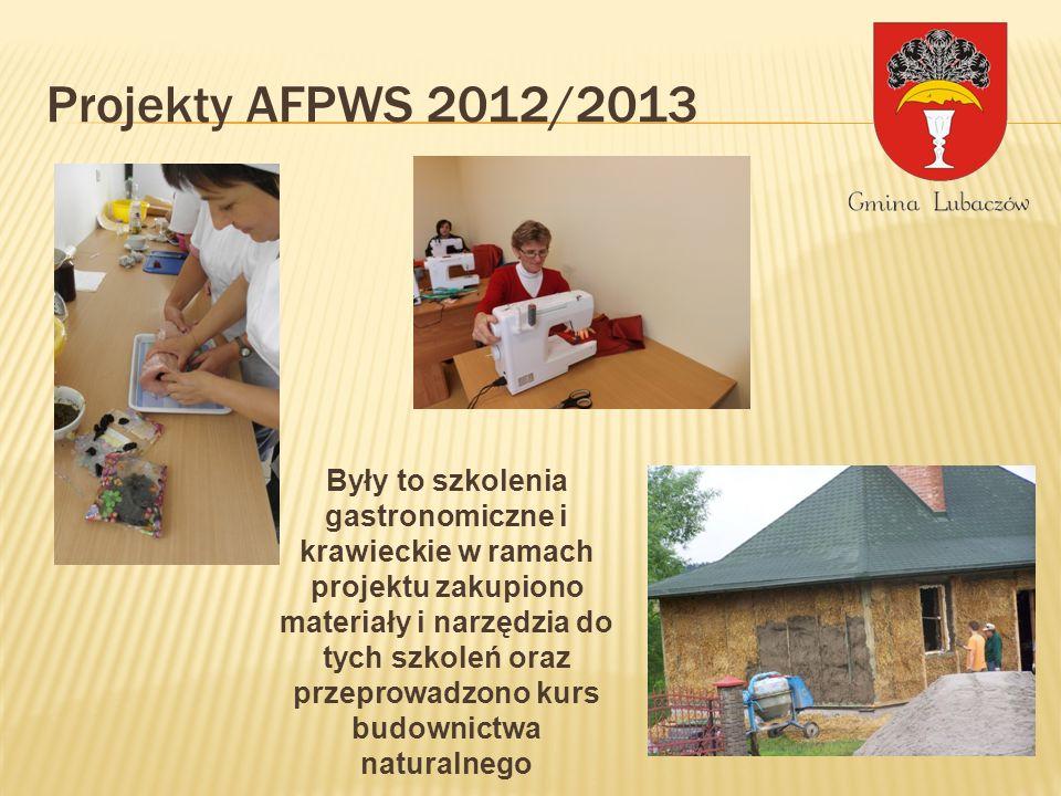 Projekty AFPWS 2012/2013 Były to szkolenia gastronomiczne i krawieckie w ramach projektu zakupiono materiały i narzędzia do tych szkoleń oraz przeprowadzono kurs budownictwa naturalnego