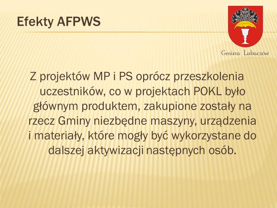 Z projektów MP i PS oprócz przeszkolenia uczestników, co w projektach POKL było głównym produktem, zakupione zostały na rzecz Gminy niezbędne maszyny, urządzenia i materiały, które mogły być wykorzystane do dalszej aktywizacji następnych osób.